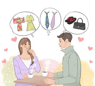 洋服や着物やネクタイ、バッグや履物のことを相談するカップルのイラスト素材 [FYI01640196]
