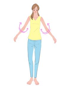 腕をぐるぐる回す運動をする女性のイラスト素材 [FYI01640199]