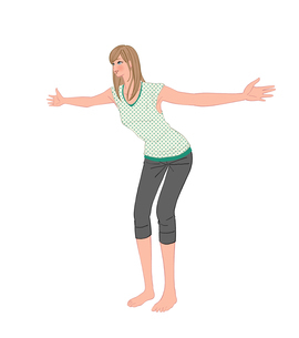 肩こりを解消する肩甲骨のストレッチをする女性のイラスト素材 [FYI01640200]