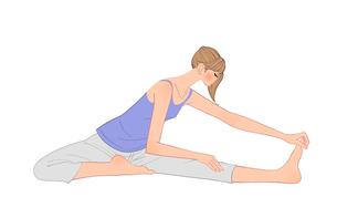 片足を伸ばして前屈のストレッチをする女性のイラスト素材 [FYI01640206]