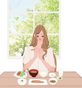 リビングで和食の朝食を食べようとする箸を持つ女性のイラスト素材 [FYI01640207]