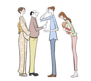 両親に挨拶するパパとママと赤ちゃんのイラスト素材 [FYI01640225]