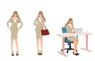 オフィスで働く女性のポーズのイラスト素材 [FYI01640226]