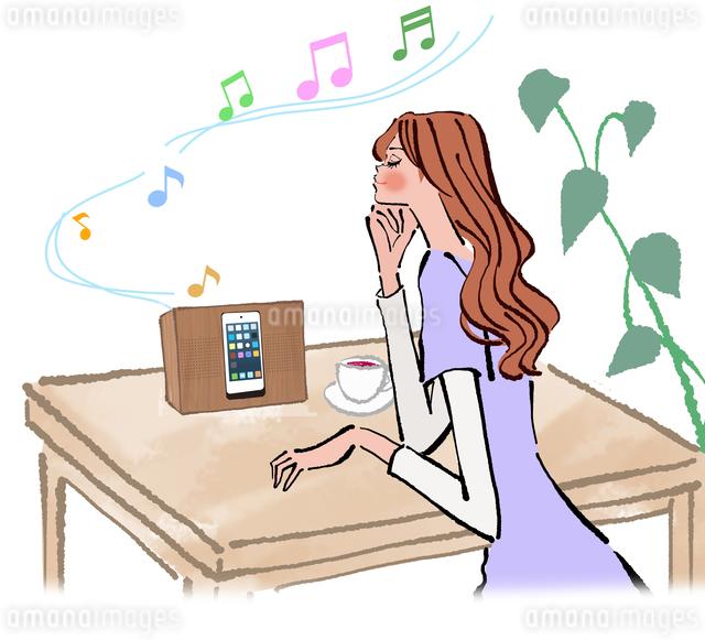 お茶を飲みながらスマートフォンで音楽を聴く女性のイラスト素材 [FYI01640230]
