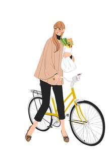 自転車で買い物をする秋の装いの女性のイラスト素材 [FYI01640233]
