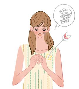 ショックをうけて傷つき自信を失う女の子のイラスト素材 [FYI01640235]