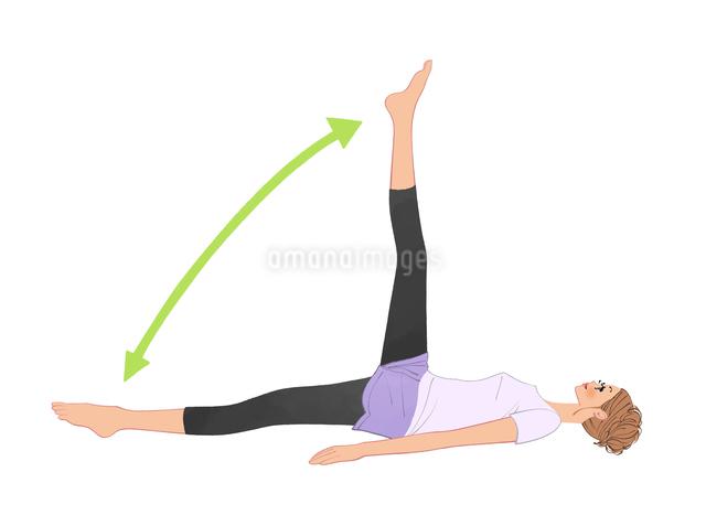 床に寝て足を上下させる運動をする女性のイラスト素材 [FYI01640236]