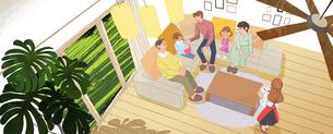 リビングルームでソファに座ってくつろぐ家族のイラスト素材 [FYI01640239]
