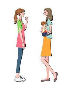 子供を抱っこするお母さんとエプロンをつけた保育士のイラスト素材 [FYI01640246]