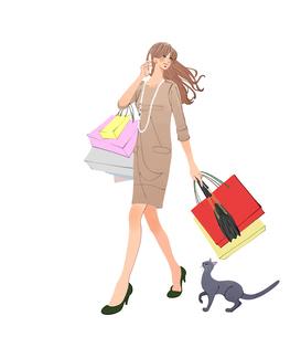 スマートフォンで話しながらショッピングバッグを持って歩く女性と猫のイラスト素材 [FYI01640251]