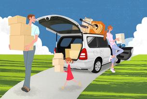 引っ越しで車から荷物を運ぶ家族のイラスト素材 [FYI01640252]