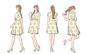 ワンピースを着た女性の様々なポーズのイラスト素材 [FYI01640254]