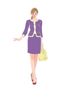 正面を向いて歩く女性のイラスト素材 [FYI01640261]