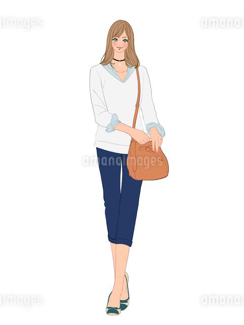 チョーカーをクビにつけて街へ出かける女性のイラスト素材 [FYI01640262]