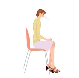 背中を丸める体操で肩こり、首のこりを予防する女性のイラスト素材 [FYI01640264]