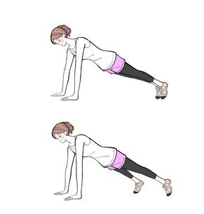 腕立て伏せの姿勢で脚を広げる運動をする女性のイラスト素材 [FYI01640272]