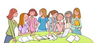 テーブルを囲みみんなで話をする女子大生たちのイラスト素材 [FYI01640289]