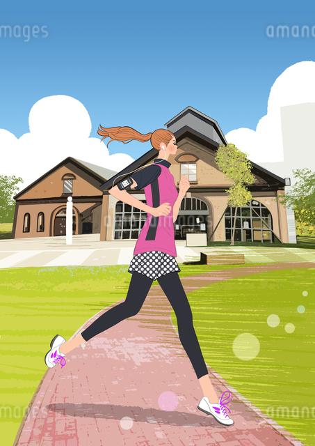 ジョギングするポニーテールの女の子のイラスト素材 [FYI01640291]