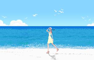 夏の海岸を歩くワンピースの女性のイラスト素材 [FYI01640292]