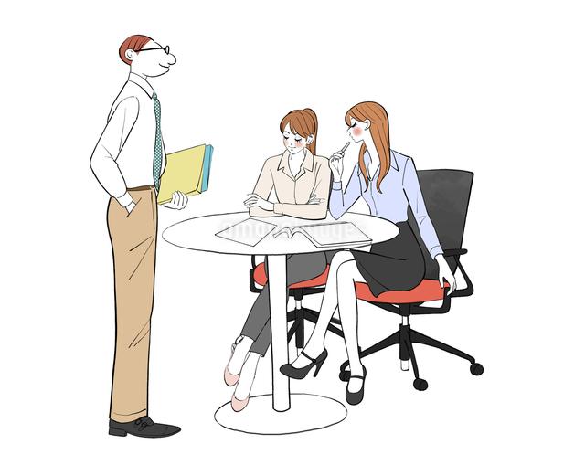 会社で打ち合わせする女性と上司の男性のイラスト素材 [FYI01640299]