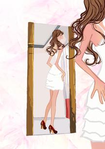 鏡を見る女性のイラスト素材 [FYI01640300]
