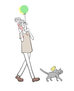 パパの肩車に乗る女の子と猫と小鳥のイラスト素材 [FYI01640301]