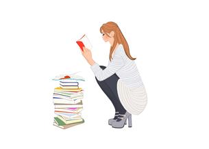 しゃがんで本を読む女性のイラスト素材 [FYI01640307]