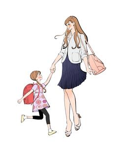 手をつないで歩くランドセルの女の子と働くママのイラスト素材 [FYI01640310]