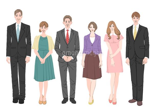 正装した若いカップルと両親のイラスト素材 [FYI01640317]