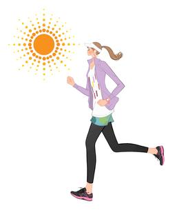 バイザーをつけて音楽を聴きながらジョギング女性のイラスト素材 [FYI01640319]