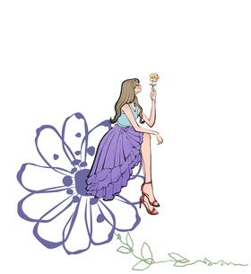 花に腰掛ける女性のイラスト素材 [FYI01640321]