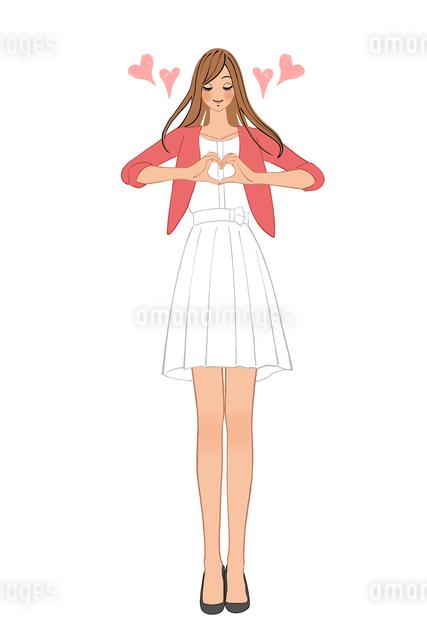 手でハートの形を作る女性のイラスト素材 [FYI01640326]
