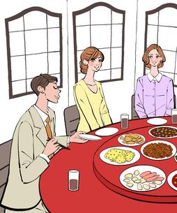 中華料理店で食事をする男性と女性のイラスト素材 [FYI01640327]