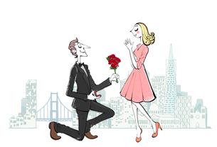 女性に花束と指輪をプレゼントする男性のイラスト素材 [FYI01640335]
