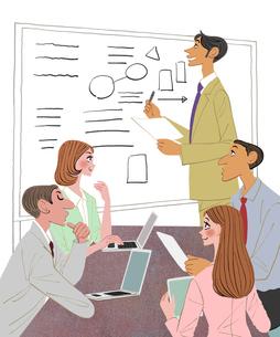 会社で打ち合わせをする男性社員と女性社員のイラスト素材 [FYI01640348]