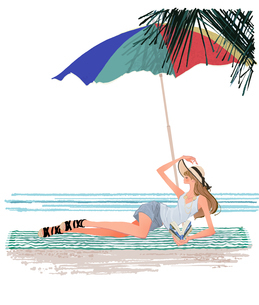 浜辺でビーチパラソルの下で寝転び本を読む女性のイラスト素材 [FYI01640353]
