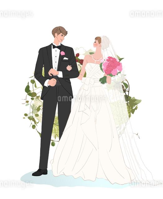 腕を組む結婚式の新郎新婦のイラスト素材 [FYI01640363]