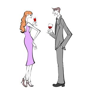 パーティでワインを飲みながら話すカップルのイラスト素材 [FYI01640365]