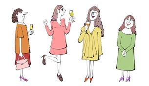 ワインを飲む女性たちのイラスト素材 [FYI01640366]