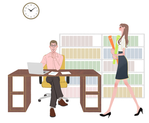 書類を持ってオフィスを歩く女性とデスクで仕事する男性のイラスト素材 [FYI01640370]