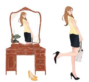おしゃれして鏡を見る女の子のイラスト素材 [FYI01640371]