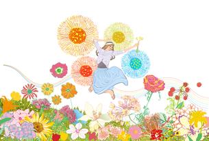 春の高原でたくさんの花に囲まれてジャンプする女性のイラスト素材 [FYI01640385]