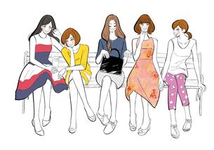 ベンチに座って話す女性たちのイラスト素材 [FYI01640413]