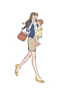 小さな子供を抱えて携帯電話で話しながら歩く働く女性のイラスト素材 [FYI01640418]