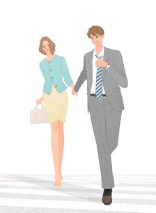 手をつないで歩くデートするカップルのイラスト素材 [FYI01640419]