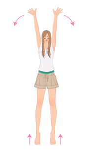 万歳の姿勢で爪先立ちになり体操をする女性のイラスト素材 [FYI01640420]