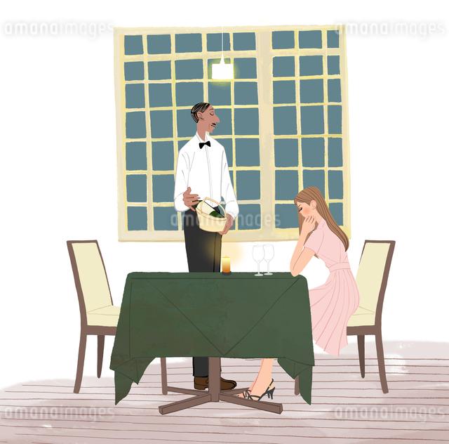 レストランで座る女性とワインを持つウエイターのイラスト素材 [FYI01640421]