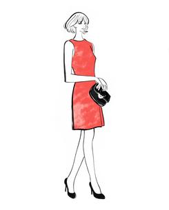 ワンピースのドレスを着て立つ女性のイラスト素材 [FYI01640430]
