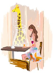 コーヒーショップの女の子とキリンのイラスト素材 [FYI01640442]
