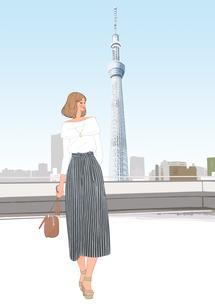 スカイツリーの見える場所で散歩する女性のイラスト素材 [FYI01640447]